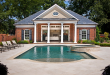 Brick Colonial Traditional Pool House | Pool house, Pool houses .