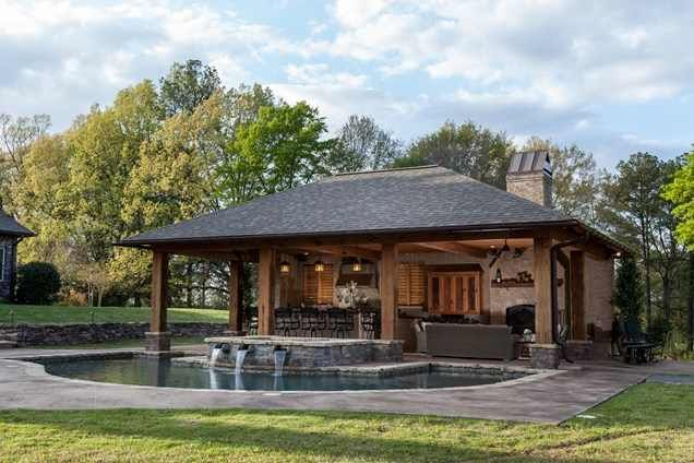 rustic pool house (With images)   Pool house designs, Pool houses .