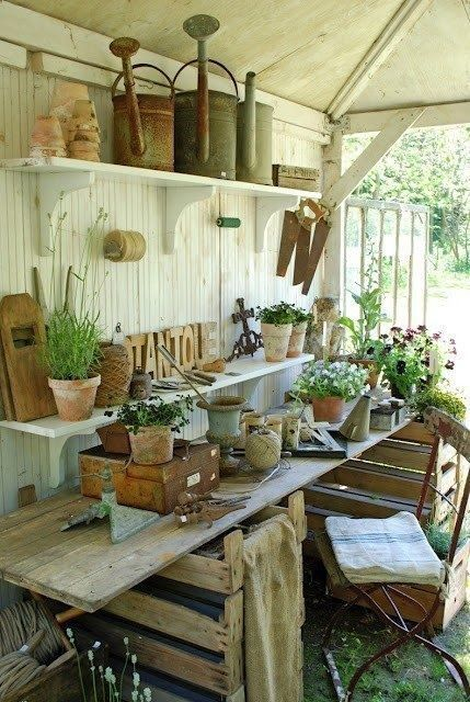 Shabby Chic Potting Shed... this is what I want the inside of my .