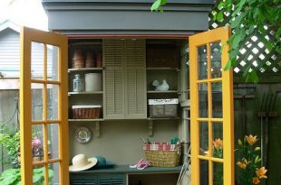 Tiny potting shed (inside) | Modern garden design, Shed design, Sh