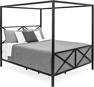 Amazon.com: Best Choice Products Modern 4 Post Canopy Queen Bed w .