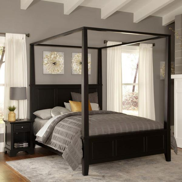 HOMESTYLES Bedford Black Queen Canopy Bed 5531-510 - The Home Dep