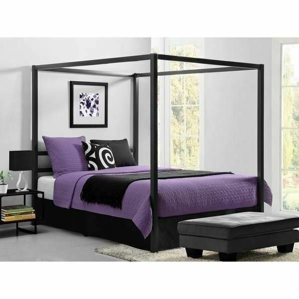 Queen Size Gray Grey Metal Canopy Bed Frame Headboard Modern .