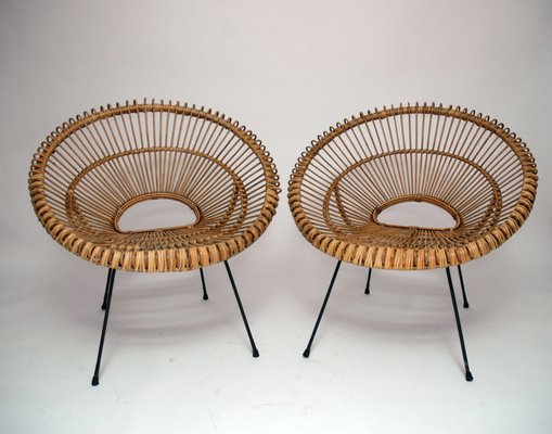 French Rattan Chairs, 1960s, Set of 2 for sale at Pamo
