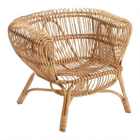 Handwoven Rattan and Kubu Roll Arm Calida Chair | World Mark
