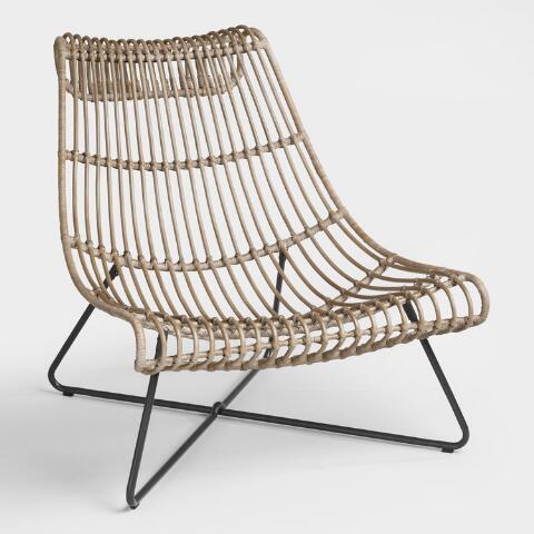 Taupe Rattan Flynn Lounger Chair | World Mark