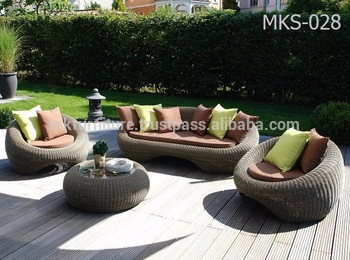 Wicker Round Rattan Garden Sofa Set Furniture- Patio Garden .