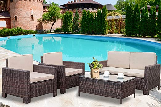 Amazon.com : Patio Sofa Set 4pcs Outdoor Furniture Set PE Rattan .