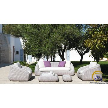 Contemporary poly rattan garden sofa furniture ( Alu frame .