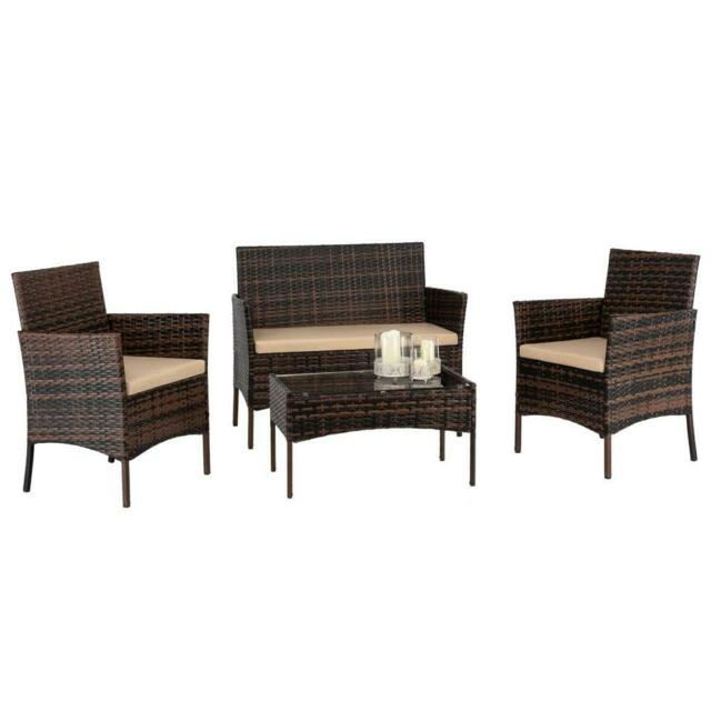 4pc PE Rattan Wicker Sofa Set Cushion Outdoor Patio Sofa Couch .