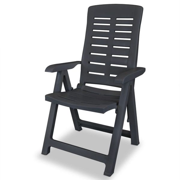 Shop Reclining Garden Chairs 4 pcs Plastic Anthracite - Free .