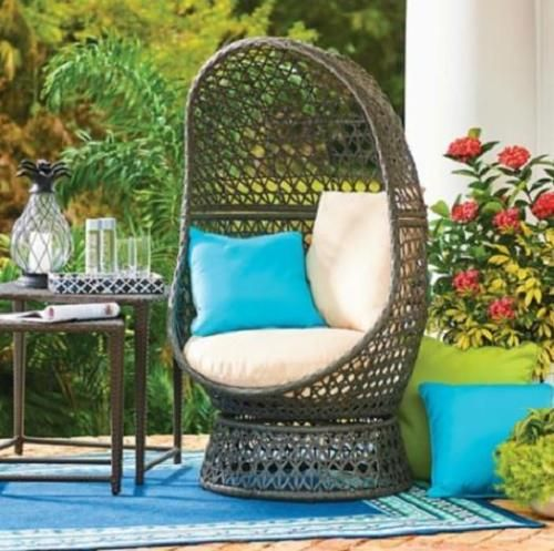 Outdoor-Brown-Resin-Wicker-Swivel-Egg-Chair-With-Cushions-Pool .