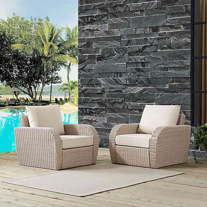 Crosley St. Augustine Resin Wicker Patio Chairs with Cushions (Set .