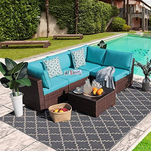 Amazon.com: Outdoor Rattan Sofa Set Couch 5pcs Wicker Patio .