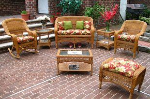 Wicker Golden Honey Bel Aire Outdoor Resin Wicker Patio Furnitu