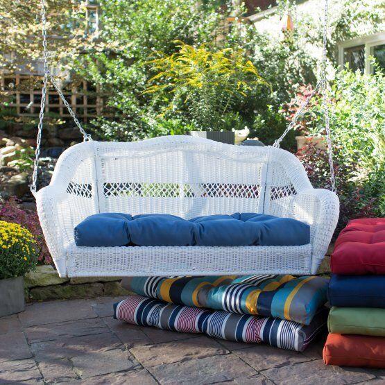 White Resin Wicker Outdoor Porch Swing Garden Patio Furniture .