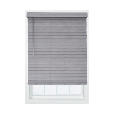 Allen + roth 2.5-in Cordless Gray Faux Wood Room Darkening Blinds .