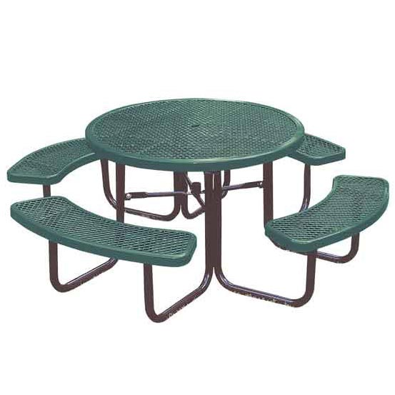 Ultraplay Round Expanded Metal Outdoor Picnic Table - 358-Rdv .