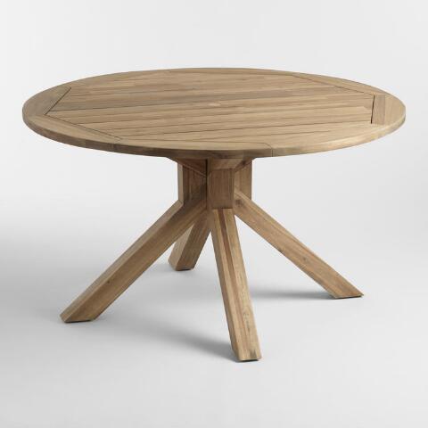 Round Natural Wood Vallarta Outdoor Dining Table   World Mark
