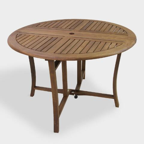 Round Wood Danner Folding Outdoor Dining Table   World Mark