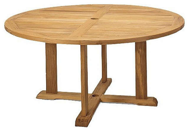 """60"""" Round Dining Outdoor Teak Table - Contemporary - Outdoor ."""