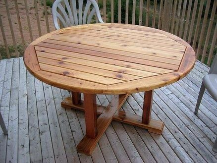 Round Wood Patio Table | Round patio table, Wood patio table, Diy .