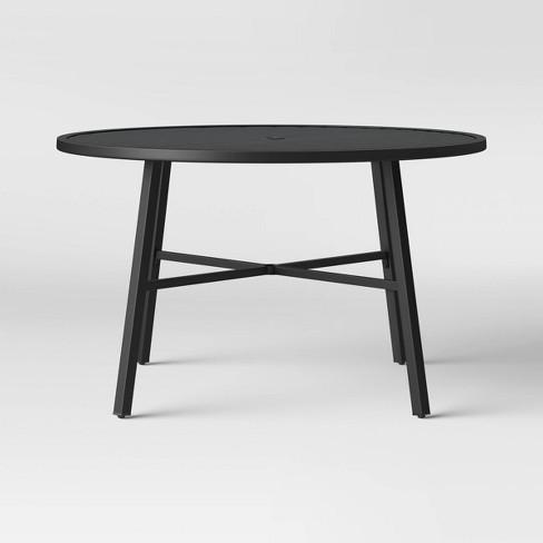 Fairmont 4-Person Round Patio Dining Table Black - Threshold™ : Targ