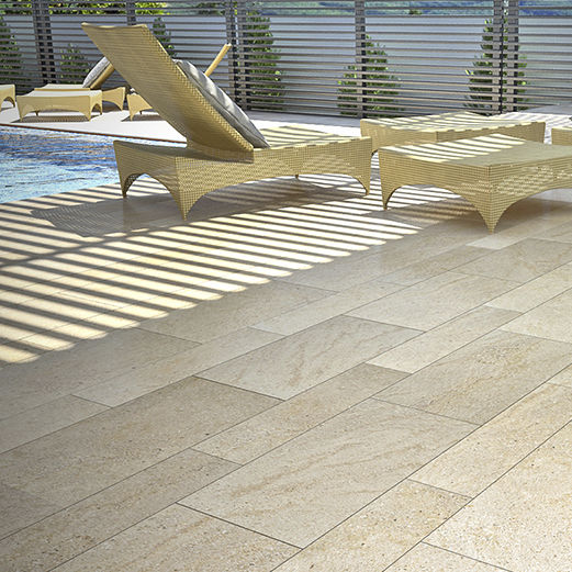 Sandstone paving slab / anti-slip / poolside / outdoor - CARAMIEL .