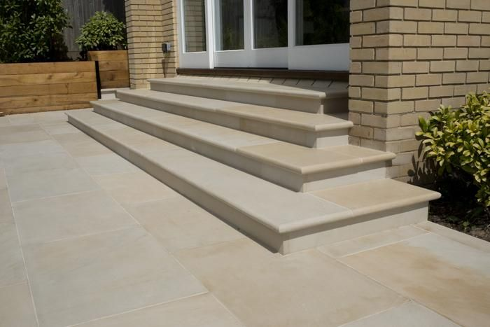 Harvest Sawn Sandstone Step Treads | Patio slabs, Sandstone paving .