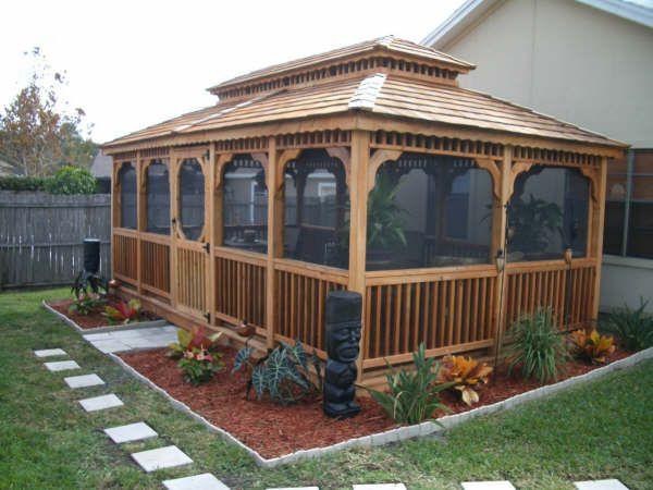 backyard screened gazebo | Backyard gazebo, Garden gazebo, Backya