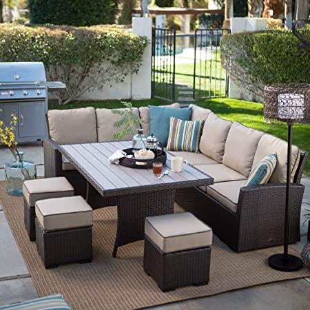 Amazon.com : Dark Brown Modern All Weather Wicker Aluminum Sofa .