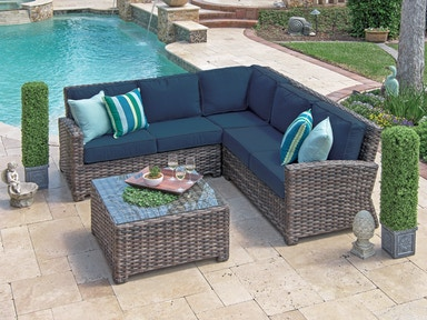 Outdoor/Patio Contempo Weathered Teak Aluminum and Resin Wicker 4 .
