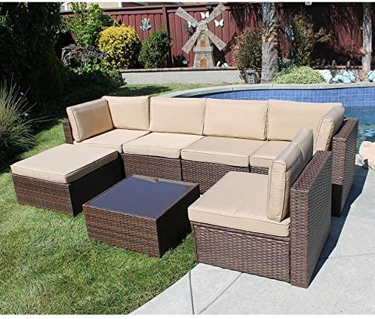 Amazon.com: SUNSITT 7 Piece Outdoor Sectional Patio Furniture Set .
