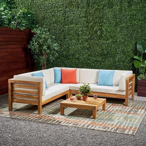 Oana 4pc Acacia Wood Patio Sectional Chat Set W/ Cushions .