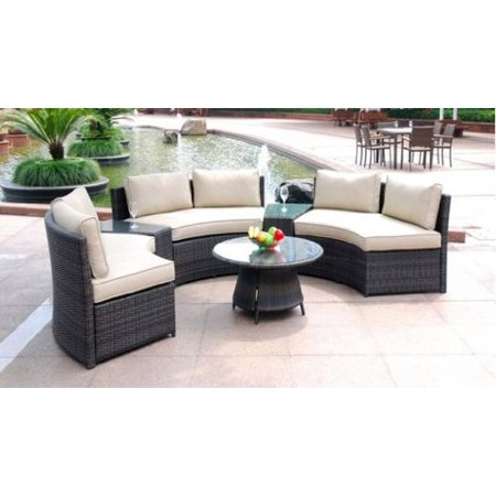 6 Piece Curved Outdoor Sofa 9 Feet Sectional Patio Furniture Set .