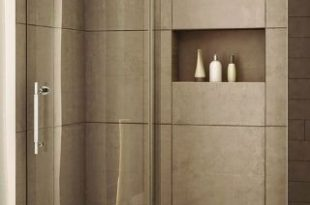glass shower with sliding glass door, love recessed storage, large .