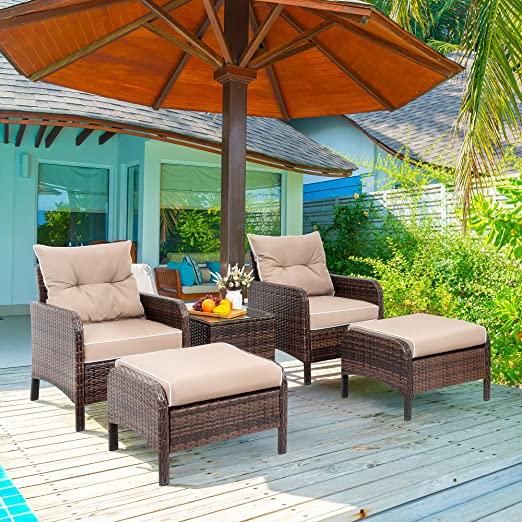 Amazon.com: Viogarden 5 Piece Wicker Patio Furniture Set, PE .