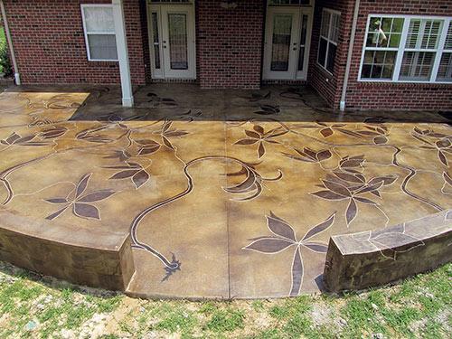 Backyard Patio Sports Acid Stained Vines   Concrete Dec