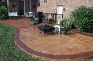 stained concrete patio   Concrete patio, Backyard patio, Pat
