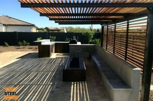steel shade pergolas custom flat top cantilever raw steel finish .