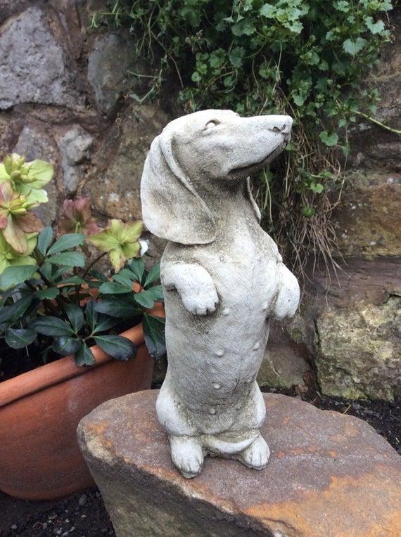 New Dachshund Sausage Dog Stone Garden Statue Ornament | Et