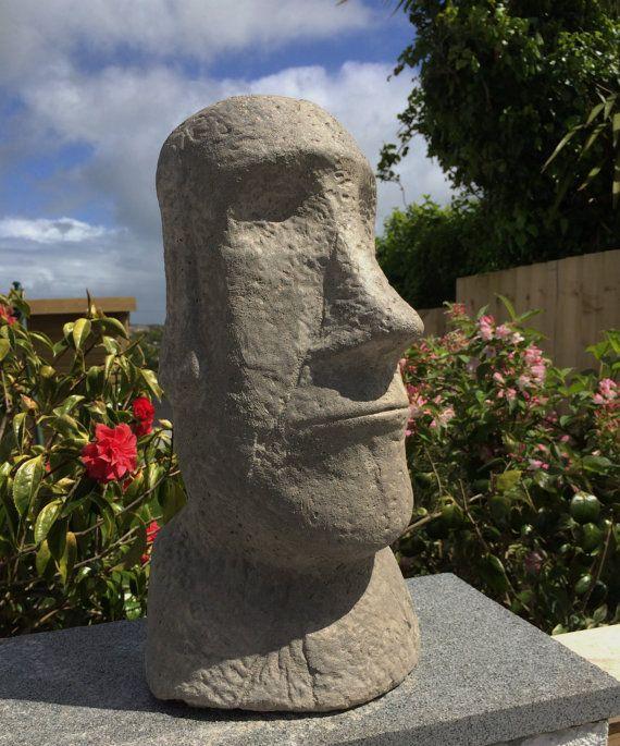 """Large Easter Island Head, Stone Garden Statue, """"Gonzalez"""", Moai ."""