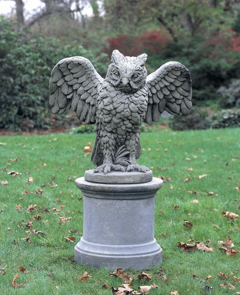 Soaring Owl Cast Stone Garden Stat
