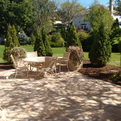 This stunning paver patio features Belgard rustic slab pavers in .