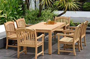 Amazon.com : Amazonia Teak Oslo 7-Piece Teak Dining Rectangular .