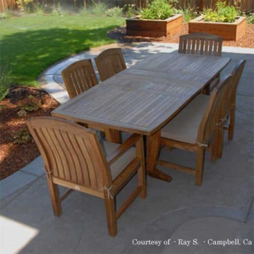 7 Pc Teak Patio Dining Table Set – Aegean Rectangle Table with 2 .