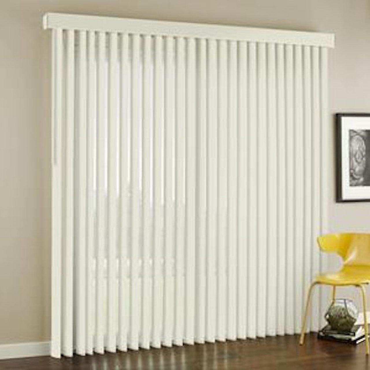 "3-1/2 in PVC Vertical Blinds in White 95"" x 60"" - GotSurpl"