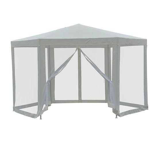 Outsunny Outdoor Hexagon Party Gazebo with Cathedral Style Roof .