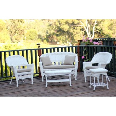 5-Piece Flynn White Wicker Patio Chair, Loveseat & Table Furniture .