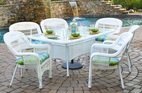 7 Piece Outdoor Dining Set White Wicker Furniture | Tortuga .